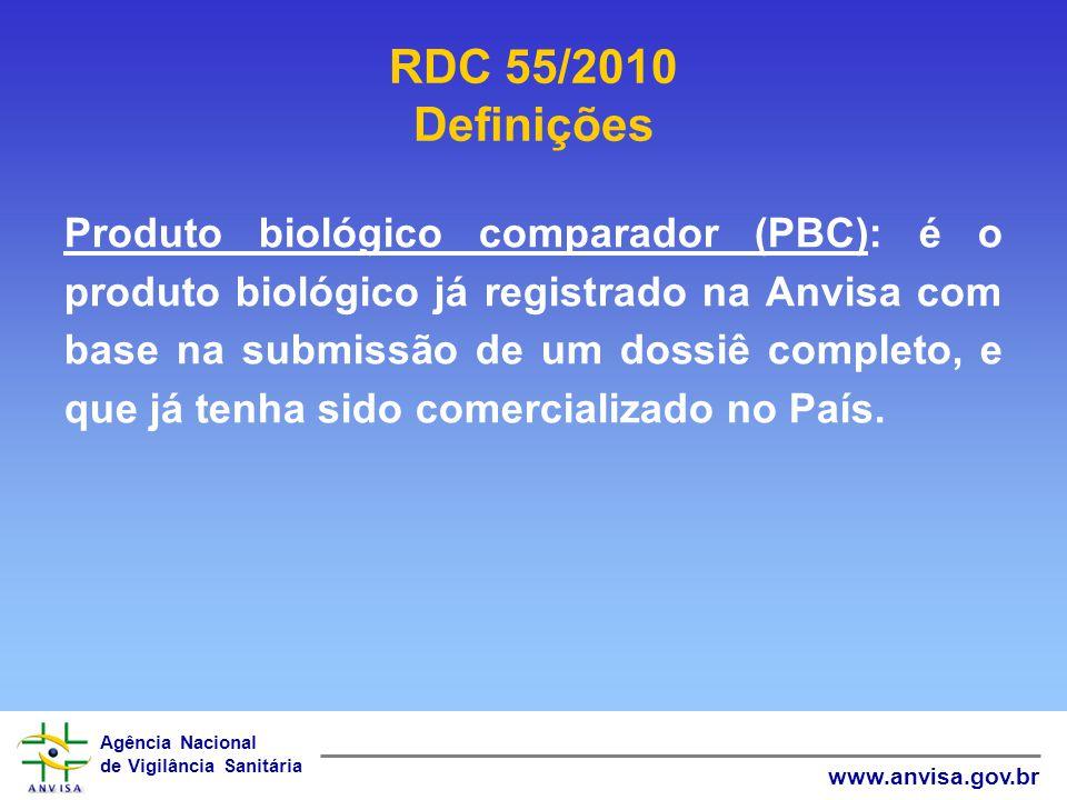 Agência Nacional de Vigilância Sanitária www.anvisa.gov.br Produto biológico comparador (PBC): é o produto biológico já registrado na Anvisa com base