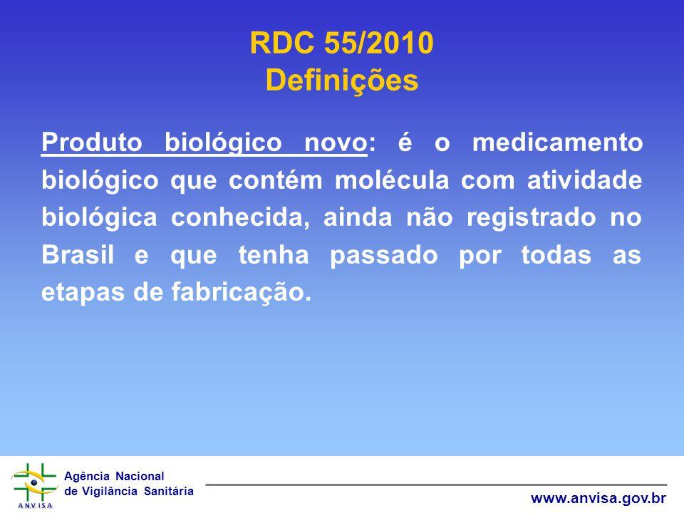Agência Nacional de Vigilância Sanitária www.anvisa.gov.br Produto biológico novo: é o medicamento biológico que contém molécula com atividade biológi