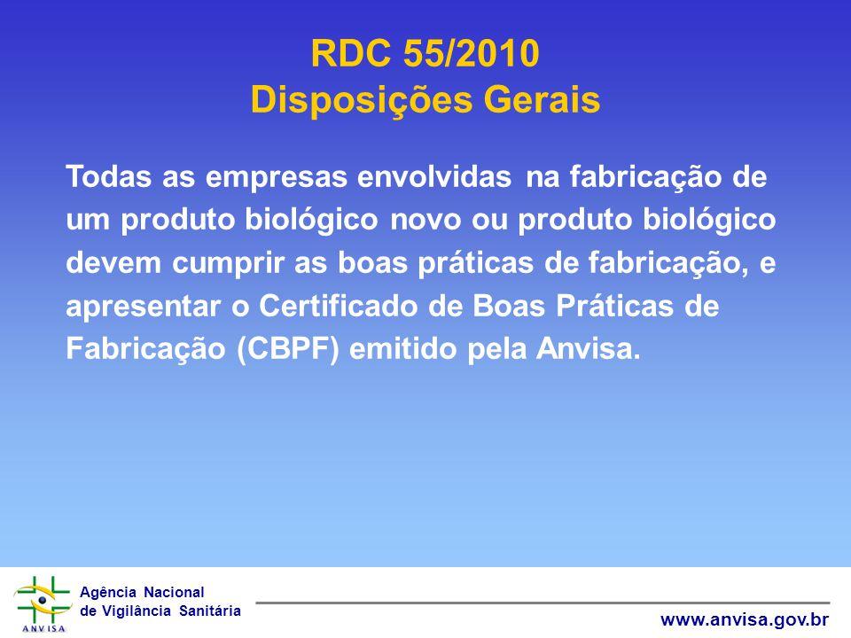Agência Nacional de Vigilância Sanitária www.anvisa.gov.br RDC 55/2010 Disposições Gerais Todas as empresas envolvidas na fabricação de um produto bio