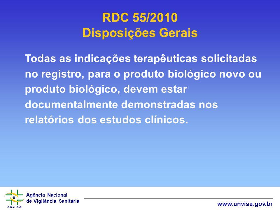 Agência Nacional de Vigilância Sanitária www.anvisa.gov.br RDC 55/2010 Disposições Gerais Todas as indicações terapêuticas solicitadas no registro, pa