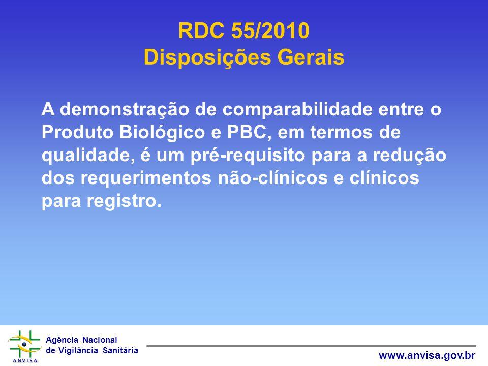 Agência Nacional de Vigilância Sanitária www.anvisa.gov.br RDC 55/2010 Disposições Gerais A demonstração de comparabilidade entre o Produto Biológico