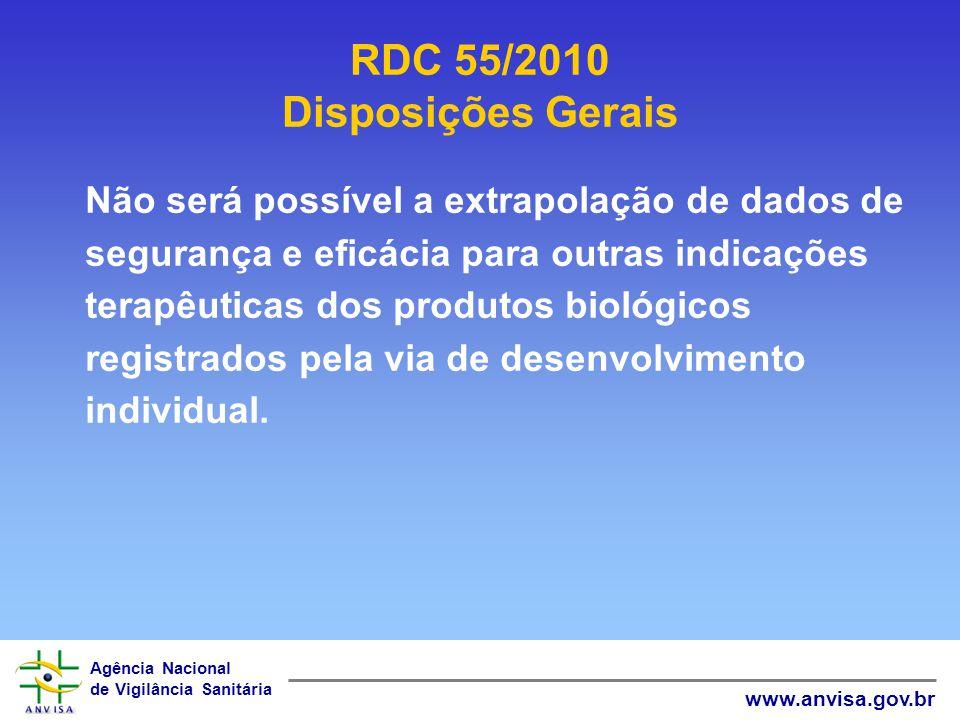 Agência Nacional de Vigilância Sanitária www.anvisa.gov.br RDC 55/2010 Disposições Gerais Não será possível a extrapolação de dados de segurança e efi