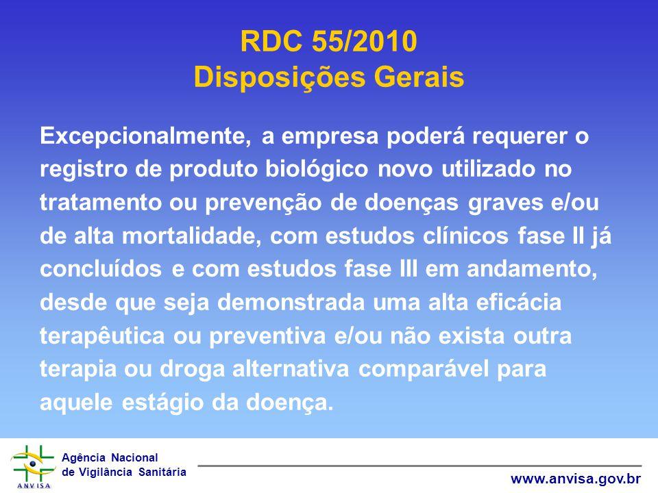 Agência Nacional de Vigilância Sanitária www.anvisa.gov.br Excepcionalmente, a empresa poderá requerer o registro de produto biológico novo utilizado