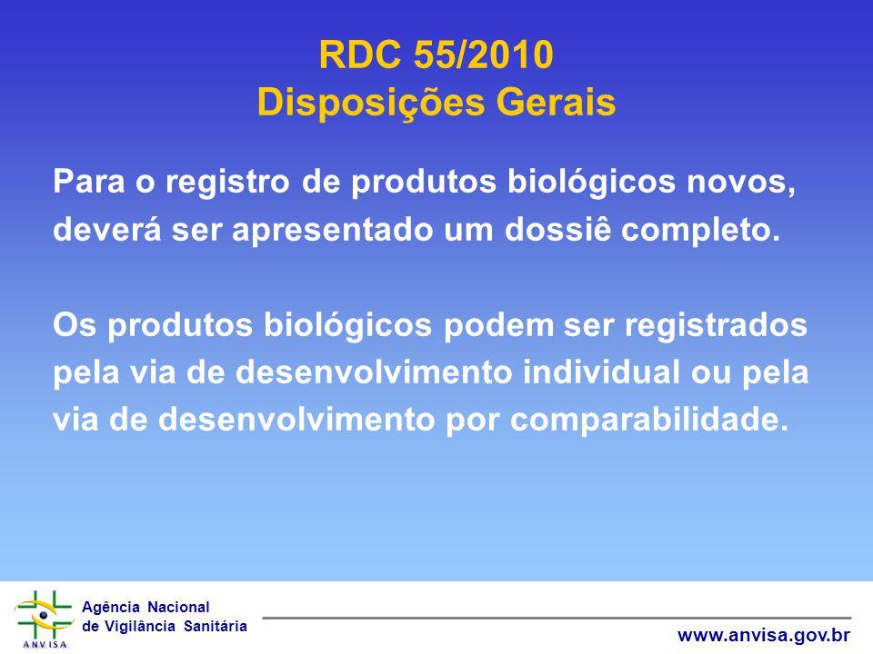 Agência Nacional de Vigilância Sanitária www.anvisa.gov.br Para o registro de produtos biológicos novos, deverá ser apresentado um dossiê completo. Os