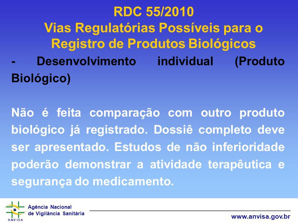 Agência Nacional de Vigilância Sanitária www.anvisa.gov.br RDC 55/2010 Vias Regulatórias Possíveis para o Registro de Produtos Biológicos - Desenvolvi