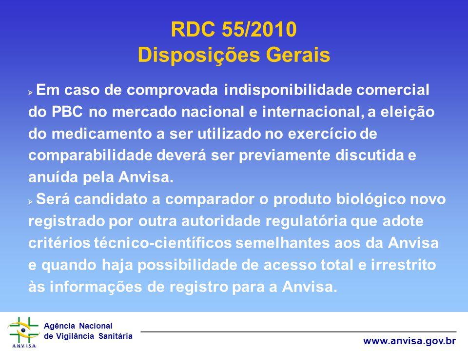 Agência Nacional de Vigilância Sanitária www.anvisa.gov.br Em caso de comprovada indisponibilidade comercial do PBC no mercado nacional e internaciona