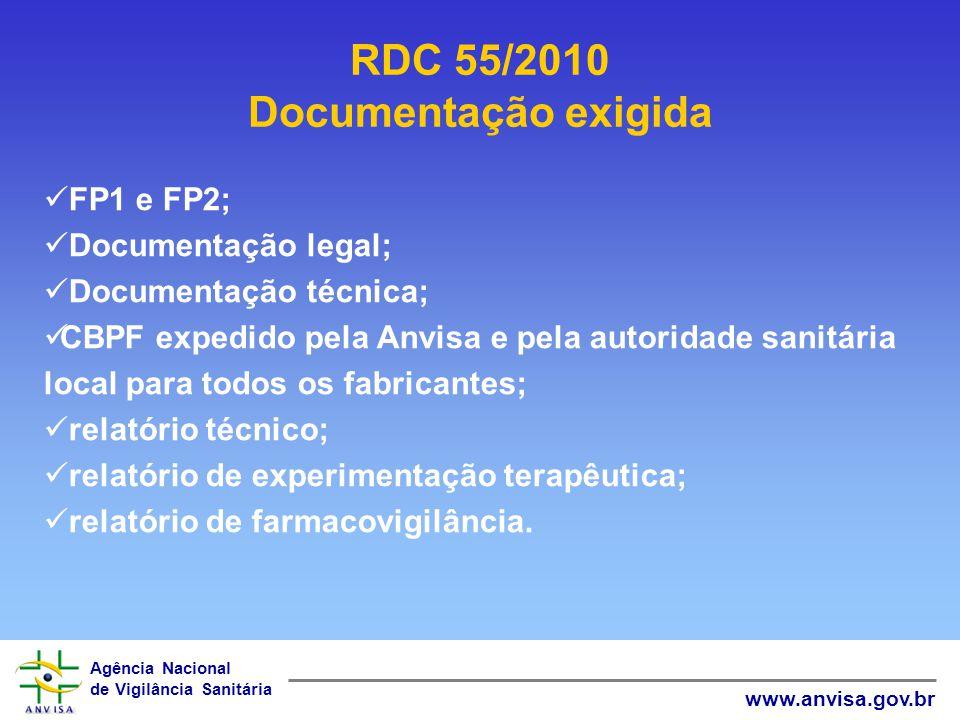 Agência Nacional de Vigilância Sanitária www.anvisa.gov.br RDC 55/2010 Documentação exigida FP1 e FP2; Documentação legal; Documentação técnica; CBPF
