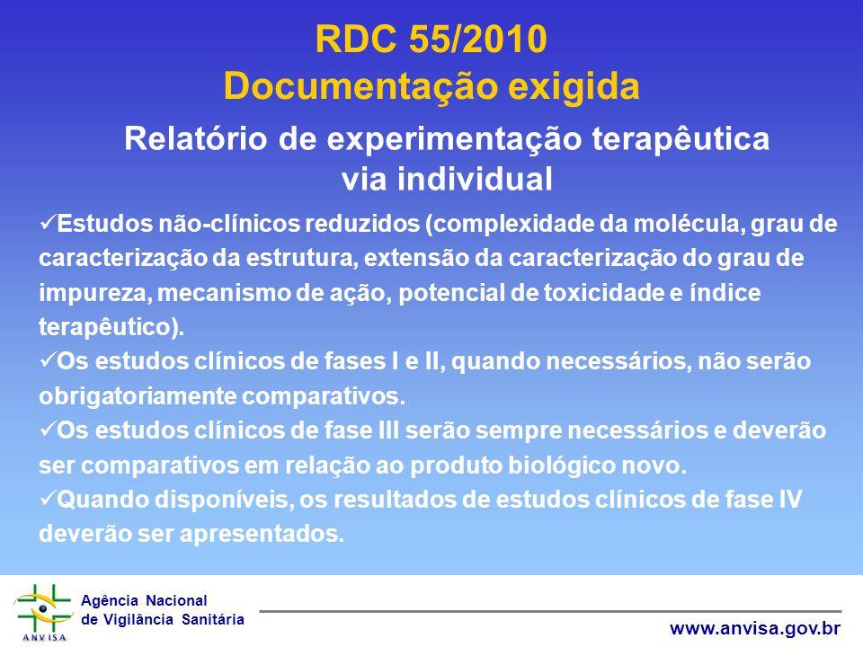 Agência Nacional de Vigilância Sanitária www.anvisa.gov.br RDC 55/2010 Documentação exigida Relatório de experimentação terapêutica via individual Est