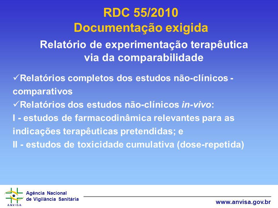 Agência Nacional de Vigilância Sanitária www.anvisa.gov.br RDC 55/2010 Documentação exigida Relatório de experimentação terapêutica via da comparabili