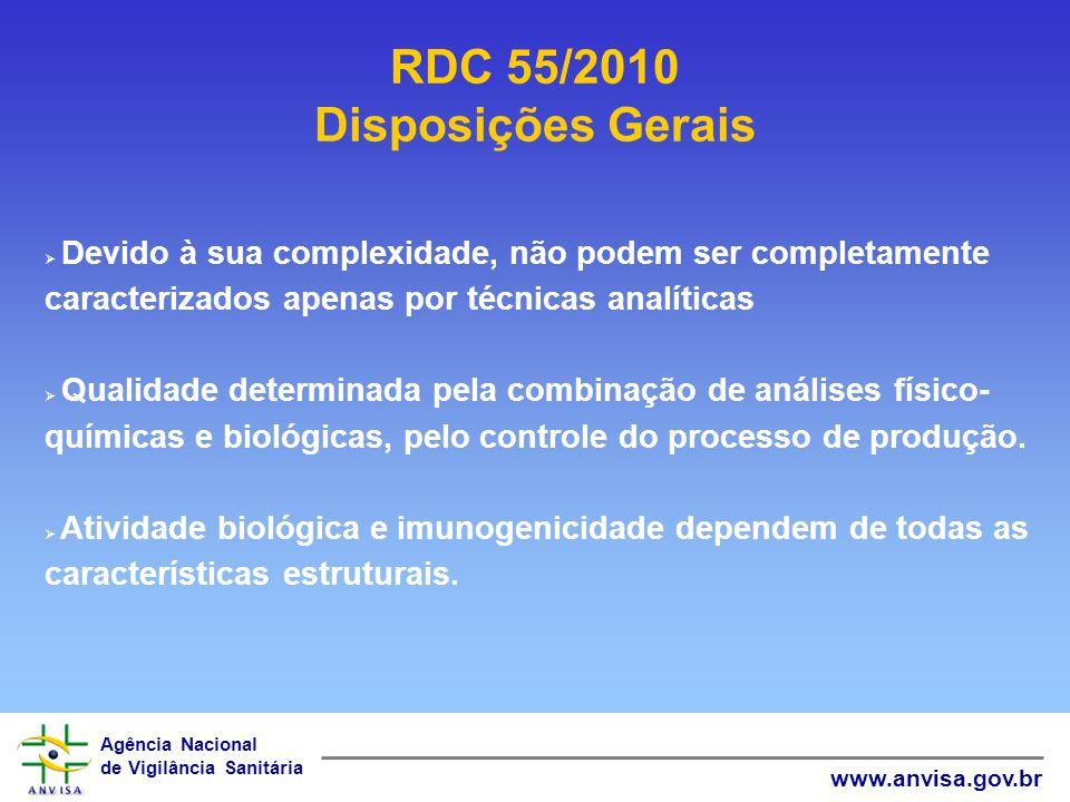 Agência Nacional de Vigilância Sanitária www.anvisa.gov.br Devido à sua complexidade, não podem ser completamente caracterizados apenas por técnicas a
