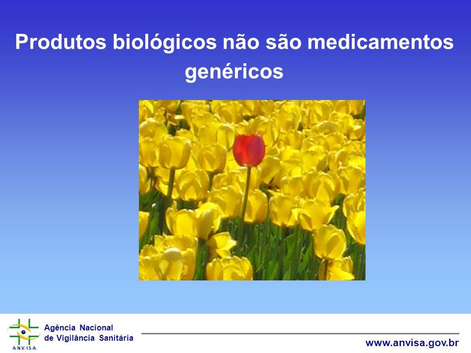Agência Nacional de Vigilância Sanitária www.anvisa.gov.br Produtos biológicos não são medicamentos genéricos