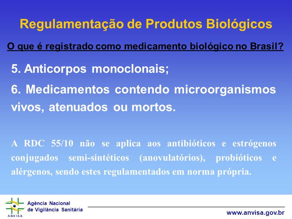 Agência Nacional de Vigilância Sanitária www.anvisa.gov.br Normas Técnicas e Regulamentação de Produtos Biológicos Arcabouço normativo para o registro de Produtos Biológicos RDC 55/10 REGISTRO RDC 46/00 HEMODERIVADOS RDC 323/03 PROBIÓTICOS RDC 274/04 GANGLIOSÍDEOS RDC 47/09 BULAS RDC 71/09 ROTULAGENS RDC 17/10 BOAS PRÁTICAS DE FABRICAÇÃO RDC 233/05 ALERGÊNICOS Portaria 174/96 SOROS Antivenenos, antitóxicos e antirábicos RDC 81/08 IMPORTAÇÃO Lei 6360/76 Dec.