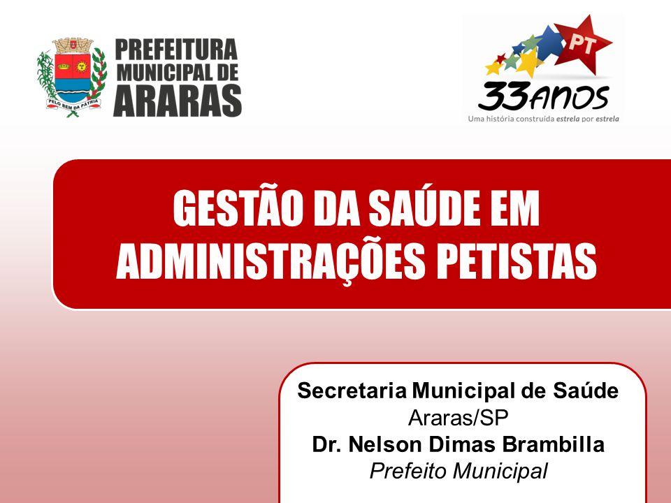 GESTÃO DA SAÚDE EM ADMINISTRAÇÕES PETISTAS Secretaria Municipal de Saúde Araras/SP Dr. Nelson Dimas Brambilla Prefeito Municipal