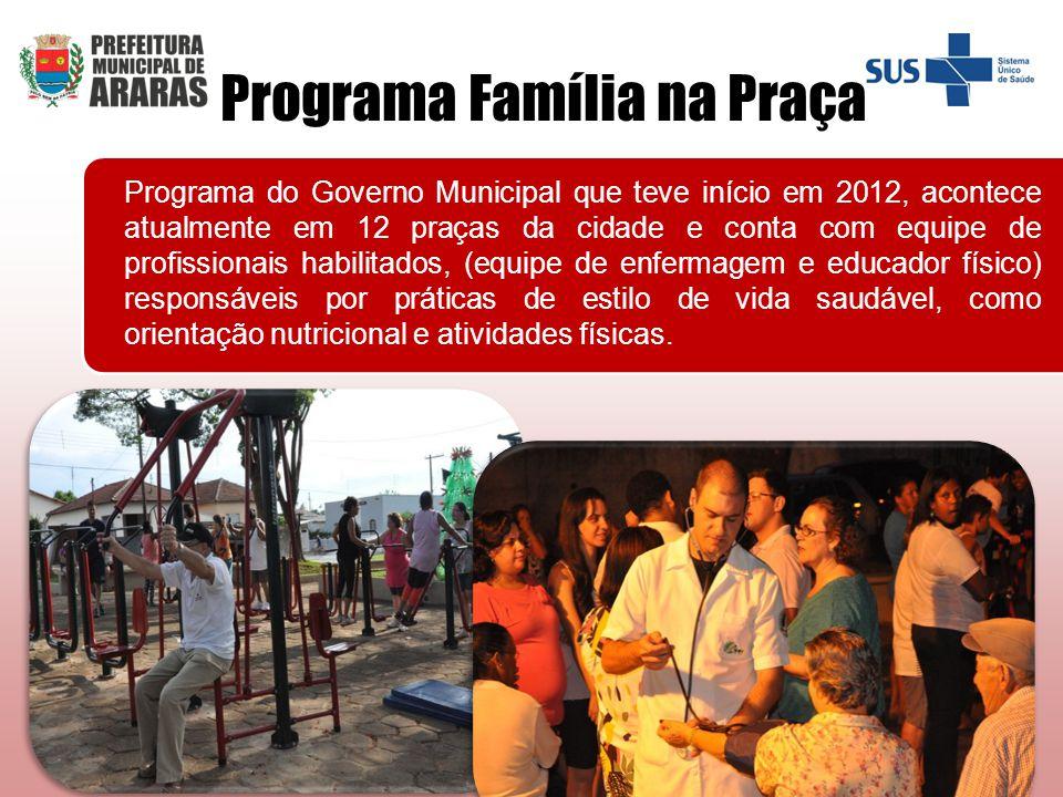 Programa do Governo Municipal que teve início em 2012, acontece atualmente em 12 praças da cidade e conta com equipe de profissionais habilitados, (eq