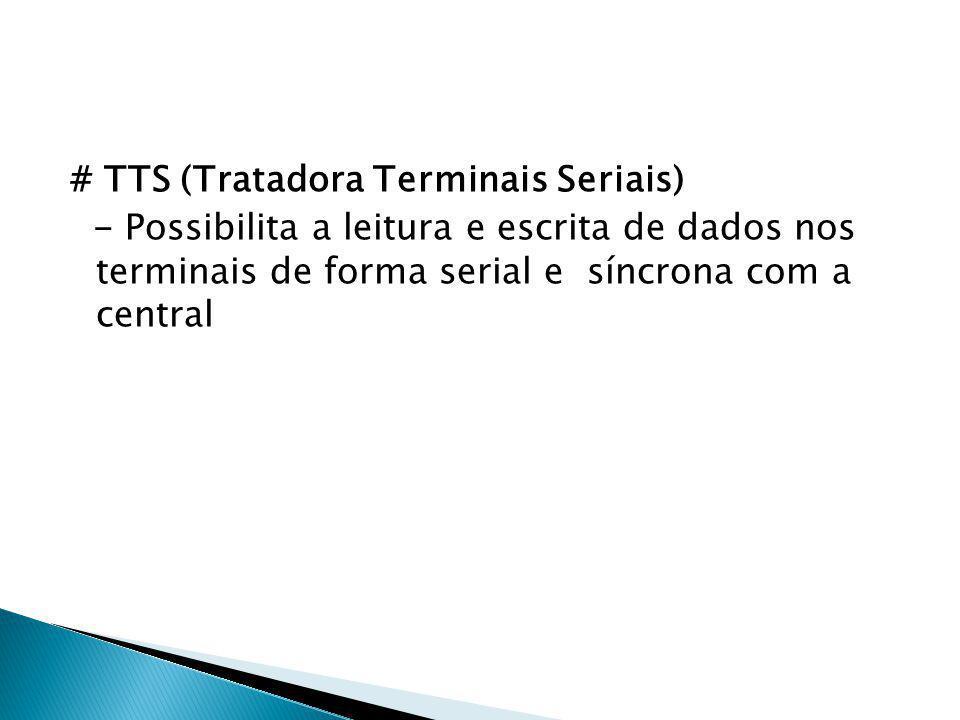 # TTS (Tratadora Terminais Seriais) - Possibilita a leitura e escrita de dados nos terminais de forma serial e síncrona com a central