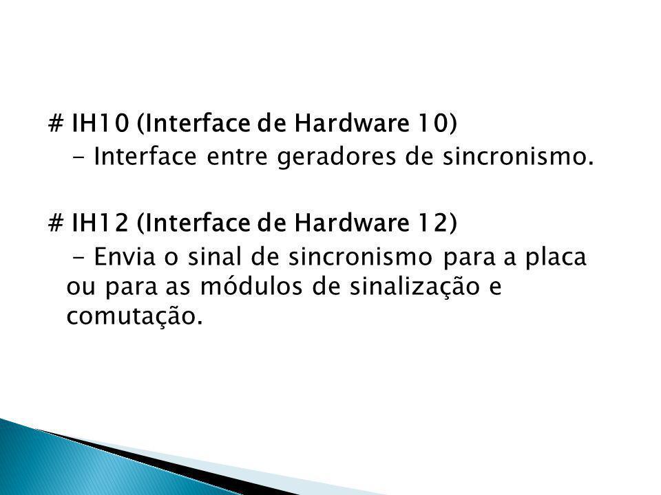 # IH10 (Interface de Hardware 10) - Interface entre geradores de sincronismo. # IH12 (Interface de Hardware 12) - Envia o sinal de sincronismo para a