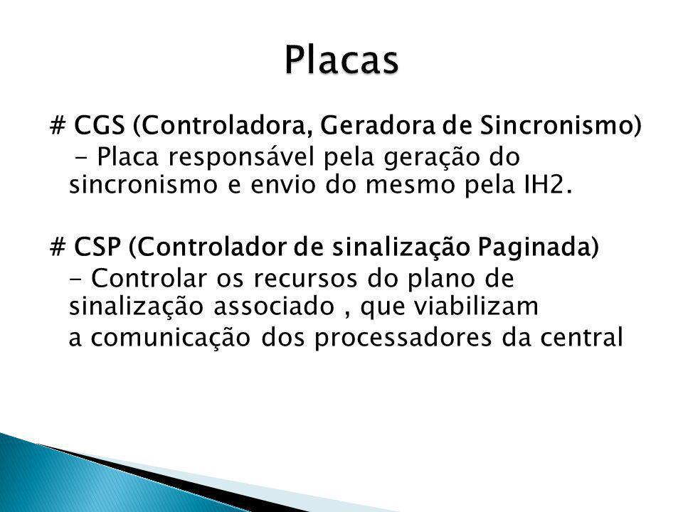 # CGS (Controladora, Geradora de Sincronismo) - Placa responsável pela geração do sincronismo e envio do mesmo pela IH2. # CSP (Controlador de sinaliz