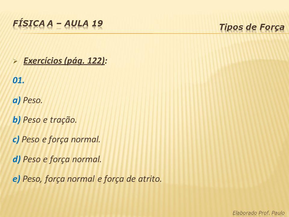 Exercícios (pág. 122): 01. a) Peso. b) Peso e tração. c) Peso e força normal. d) Peso e força normal. e) Peso, força normal e força de atrito.