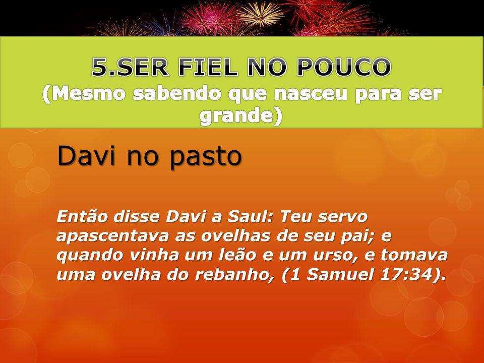 Davi no pasto Então disse Davi a Saul: Teu servo apascentava as ovelhas de seu pai; e quando vinha um leão e um urso, e tomava uma ovelha do rebanho,