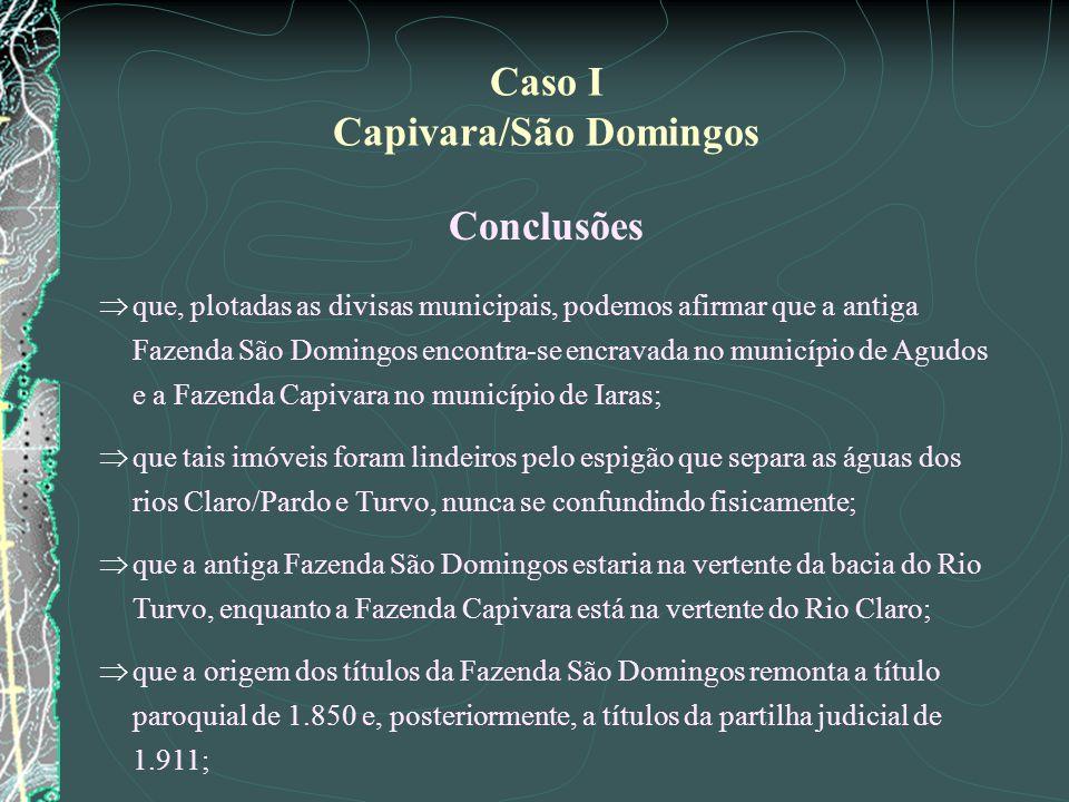 Conclusões que, plotadas as divisas municipais, podemos afirmar que a antiga Fazenda São Domingos encontra-se encravada no município de Agudos e a Faz