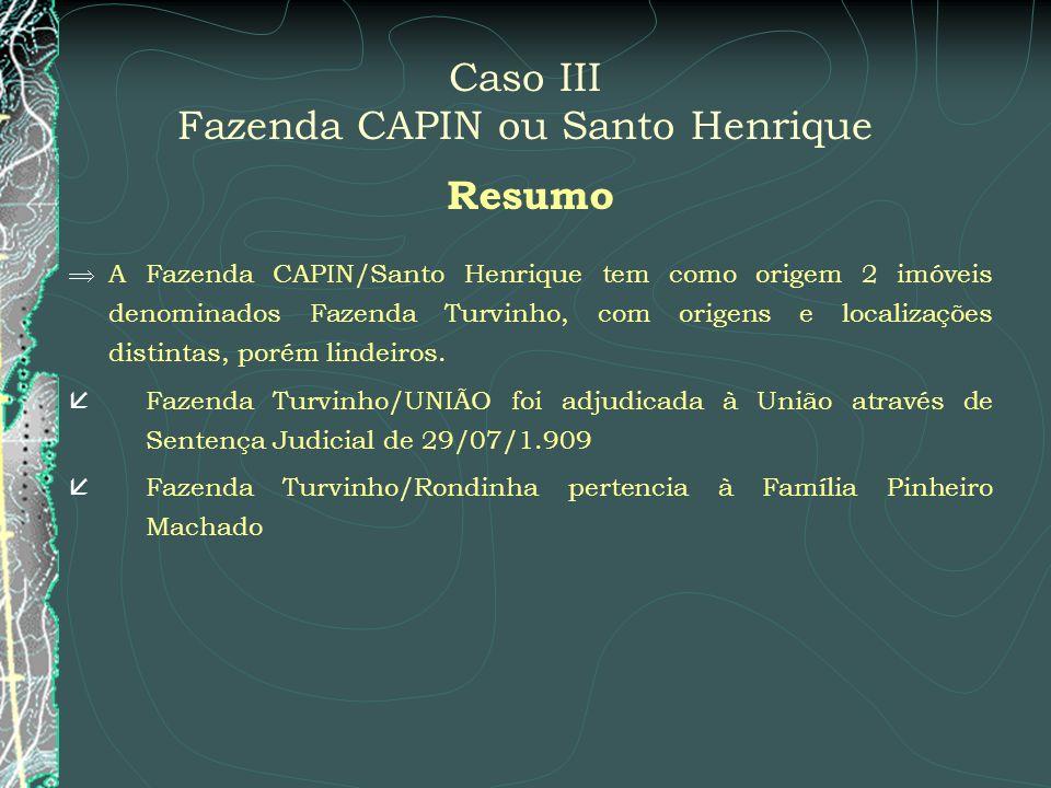 Caso III Fazenda CAPIN ou Santo Henrique Resumo A Fazenda CAPIN/Santo Henrique tem como origem 2 imóveis denominados Fazenda Turvinho, com origens e l