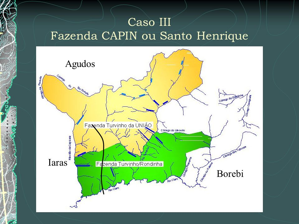 Caso III Fazenda CAPIN ou Santo Henrique Iaras Agudos Borebi