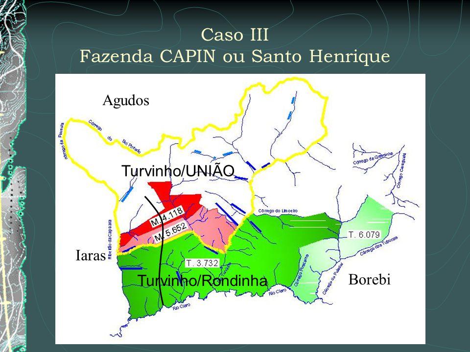 Caso III Fazenda CAPIN ou Santo Henrique Turvinho/UNIÃO Turvinho/Rondinha Iaras Agudos Borebi