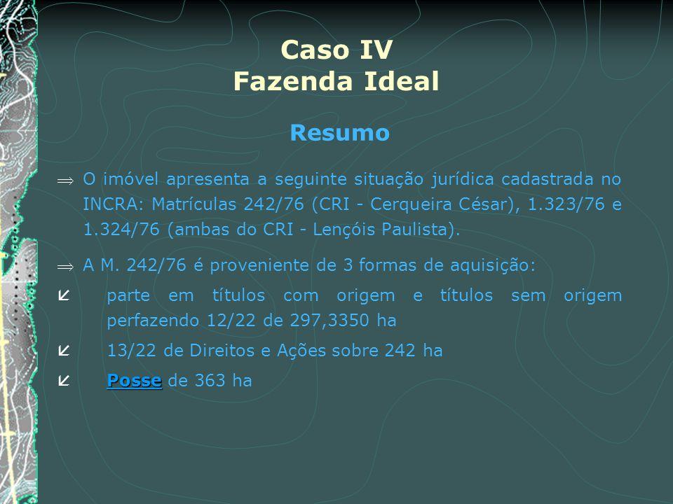Caso IV Fazenda Ideal Resumo O imóvel apresenta a seguinte situação jurídica cadastrada no INCRA: Matrículas 242/76 (CRI - Cerqueira César), 1.323/76