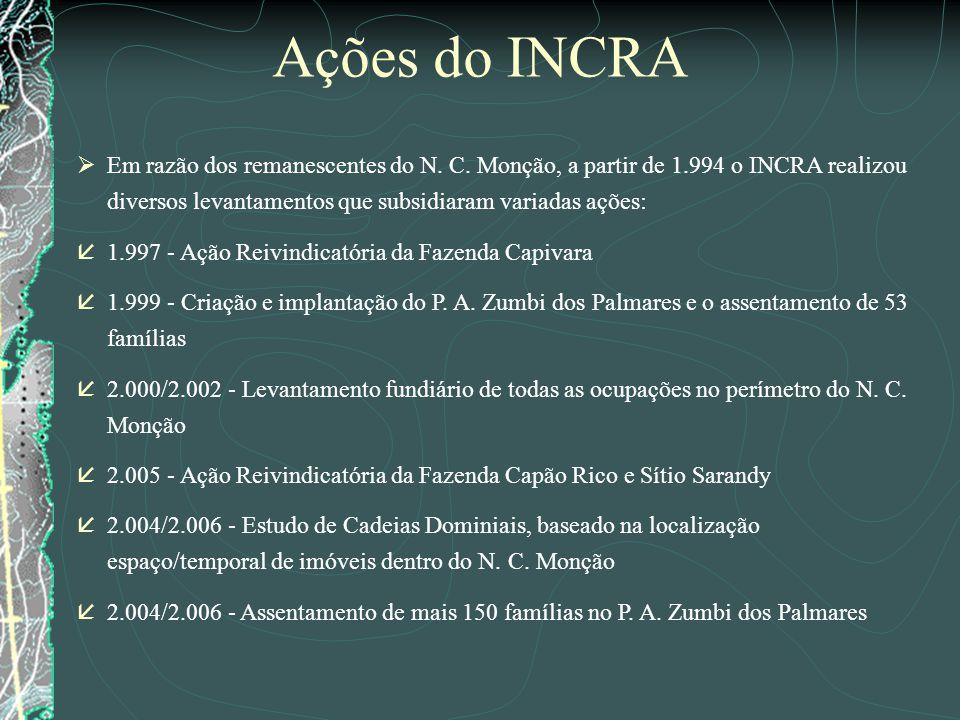 Ações do INCRA Em razão dos remanescentes do N. C. Monção, a partir de 1.994 o INCRA realizou diversos levantamentos que subsidiaram variadas ações: å