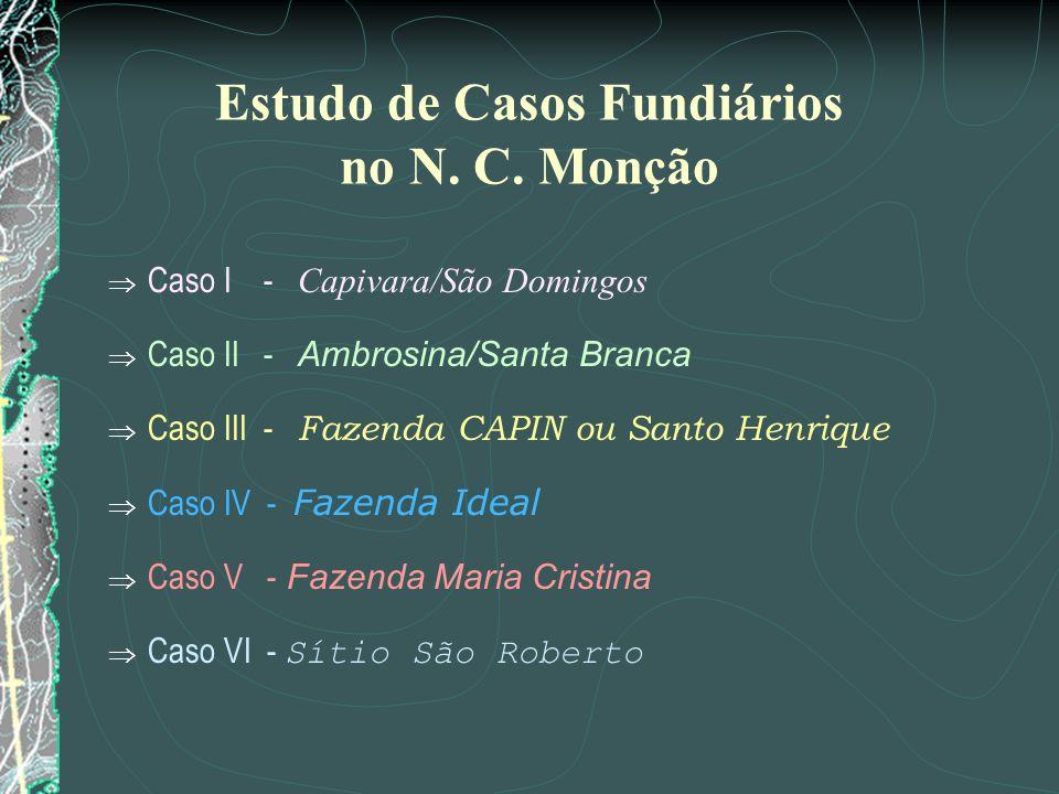 Estudo de Casos Fundiários no N. C. Monção Caso I - Capivara/São Domingos Caso II - Ambrosina/Santa Branca Caso III - Fazenda CAPIN ou Santo Henrique