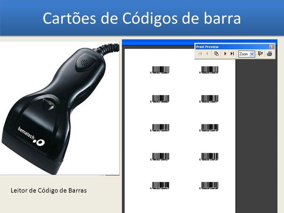 Cartões de Códigos de barra Leitor de Código de Barras