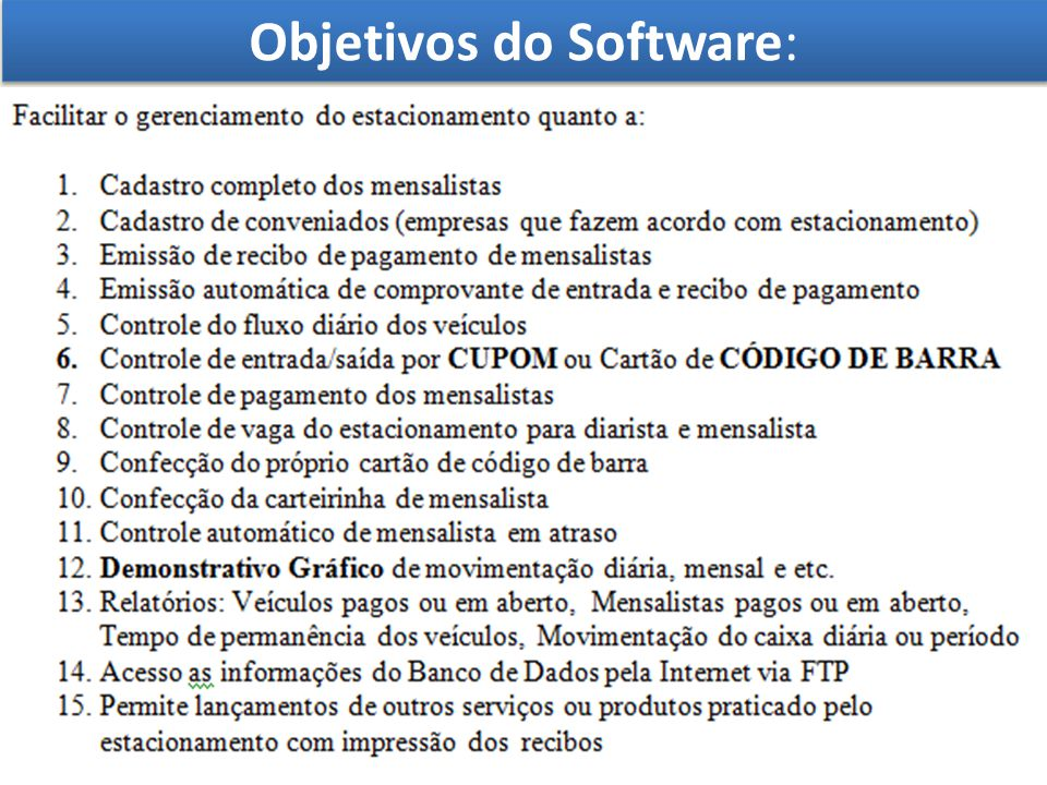 Visão Geral do Software: Esta apresentação mostra uma visão resumida do software como configuração e instalação, e um resumo das telas mais utilizada no sistema.