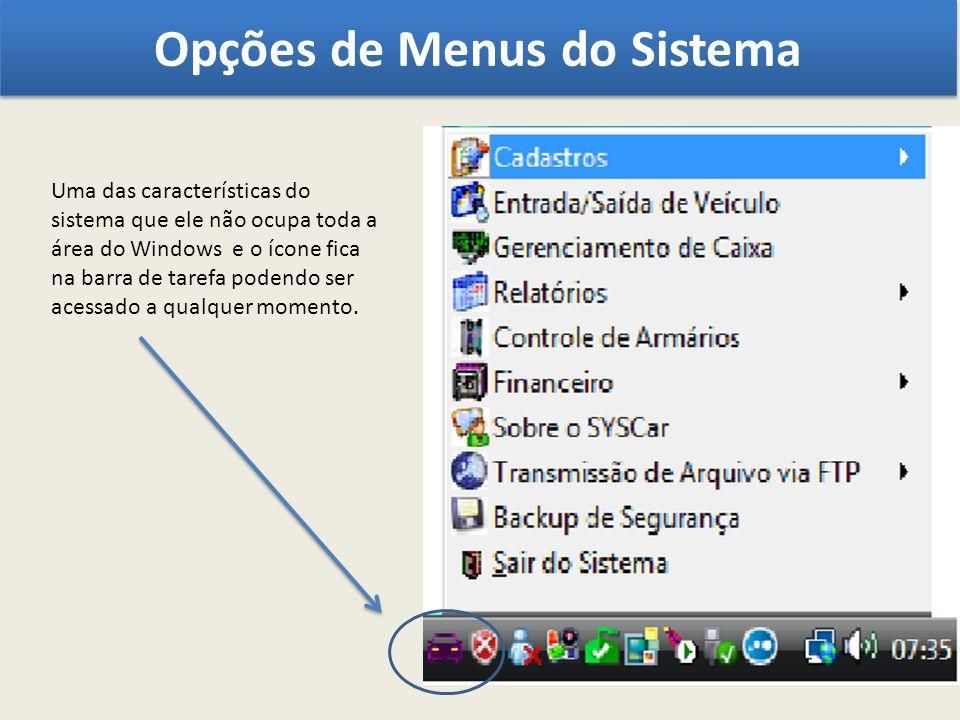 Opções de Menus do Sistema Uma das características do sistema que ele não ocupa toda a área do Windows e o ícone fica na barra de tarefa podendo ser a