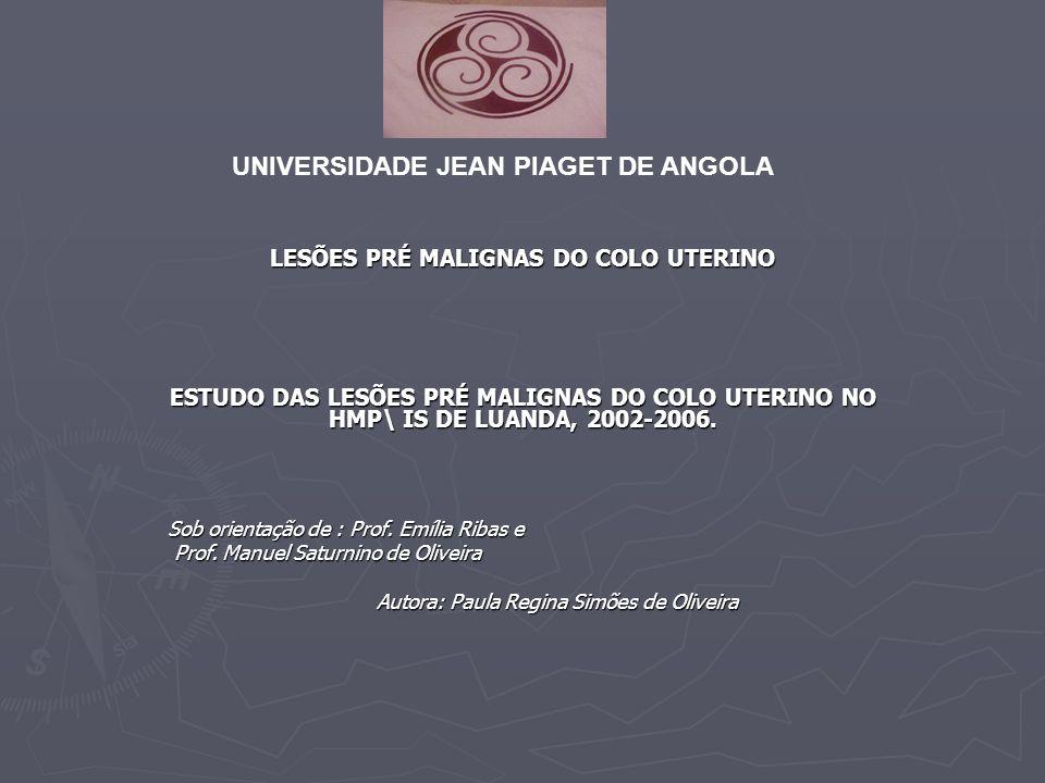 LESÕES PRÉ MALIGNAS DO COLO UTERINO ESTUDO DAS LESÕES PRÉ MALIGNAS DO COLO UTERINO NO HMP\ IS DE LUANDA, 2002-2006.