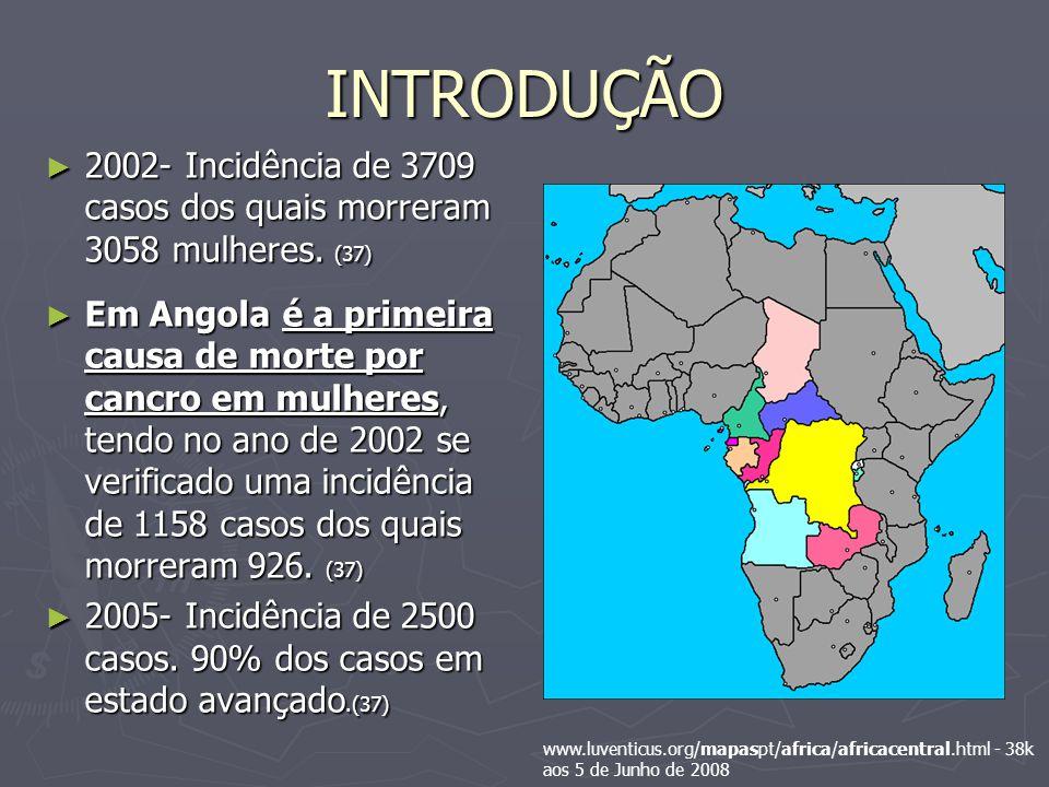 INTRODUÇÃO 2002- Incidência de 3709 casos dos quais morreram 3058 mulheres.