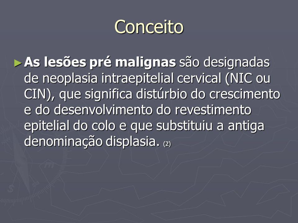 Conceito As lesões pré malignas são designadas de neoplasia intraepitelial cervical (NIC ou CIN), que significa distúrbio do crescimento e do desenvolvimento do revestimento epitelial do colo e que substituiu a antiga denominação displasia.