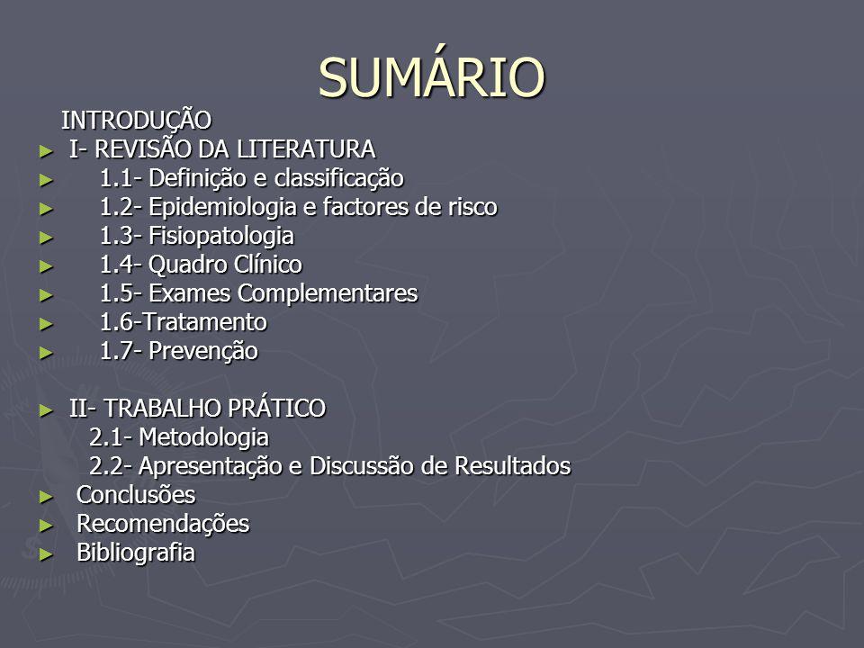 SUMÁRIO INTRODUÇÃO INTRODUÇÃO I- REVISÃO DA LITERATURA I- REVISÃO DA LITERATURA 1.1- Definição e classificação 1.1- Definição e classificação 1.2- Epidemiologia e factores de risco 1.2- Epidemiologia e factores de risco 1.3- Fisiopatologia 1.3- Fisiopatologia 1.4- Quadro Clínico 1.4- Quadro Clínico 1.5- Exames Complementares 1.5- Exames Complementares 1.6-Tratamento 1.6-Tratamento 1.7- Prevenção 1.7- Prevenção II- TRABALHO PRÁTICO II- TRABALHO PRÁTICO 2.1- Metodologia 2.1- Metodologia 2.2- Apresentação e Discussão de Resultados 2.2- Apresentação e Discussão de Resultados Conclusões Conclusões Recomendações Recomendações Bibliografia Bibliografia