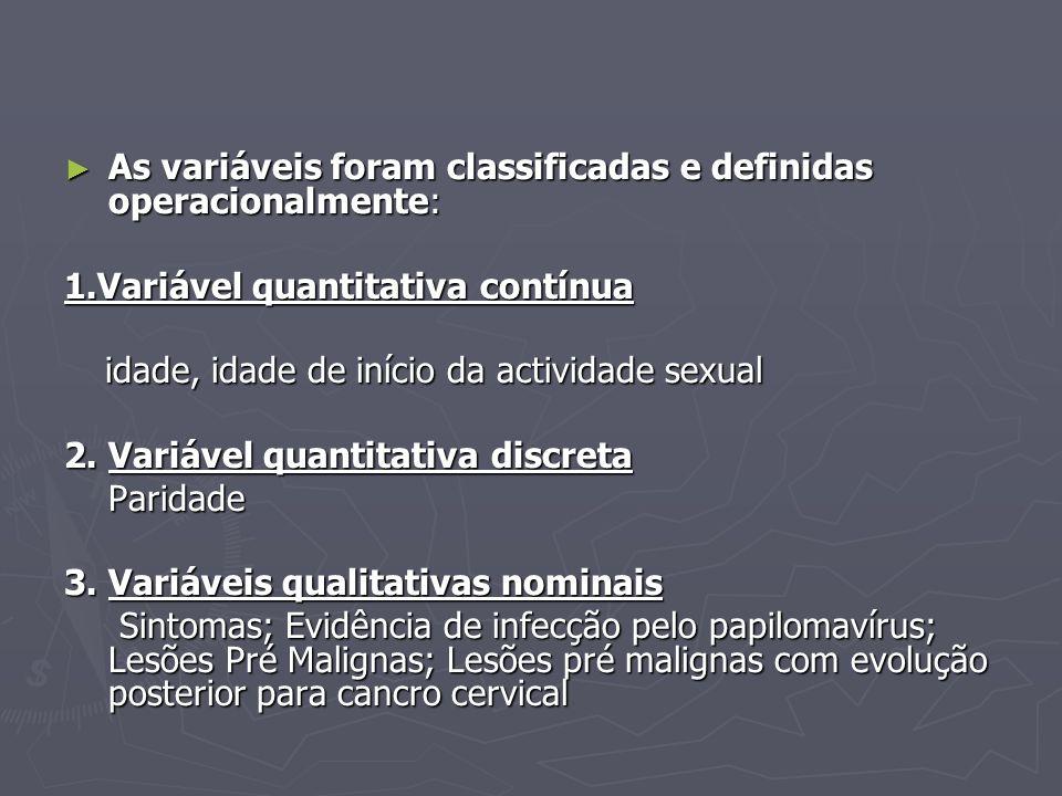 As variáveis foram classificadas e definidas operacionalmente: As variáveis foram classificadas e definidas operacionalmente: 1.Variável quantitativa contínua idade, idade de início da actividade sexual idade, idade de início da actividade sexual 2.
