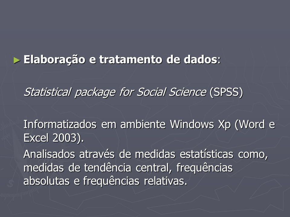 Elaboração e tratamento de dados: Elaboração e tratamento de dados: Statistical package for Social Science (SPSS) Informatizados em ambiente Windows Xp (Word e Excel 2003).