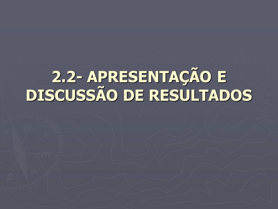 2.2- APRESENTAÇÃO E DISCUSSÃO DE RESULTADOS