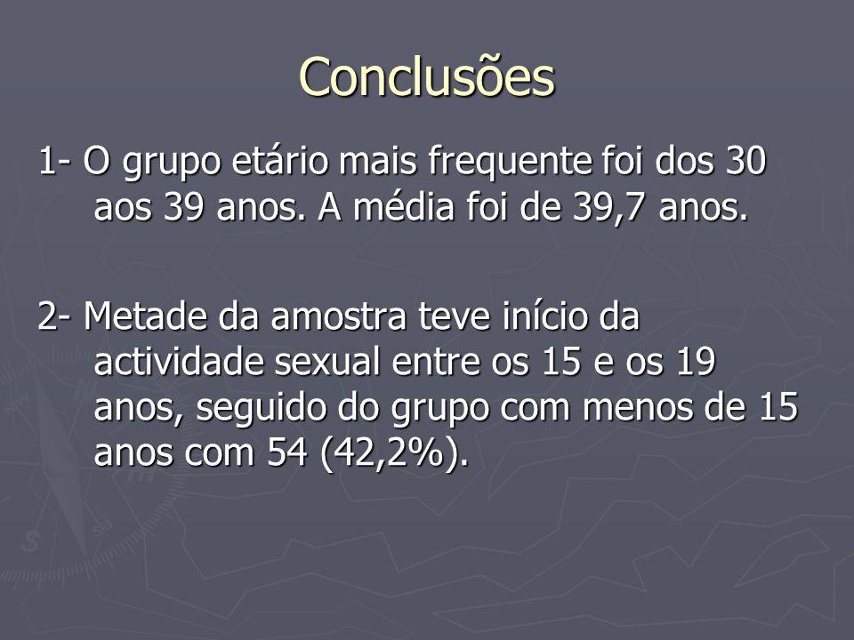 Conclusões 1- O grupo etário mais frequente foi dos 30 aos 39 anos.