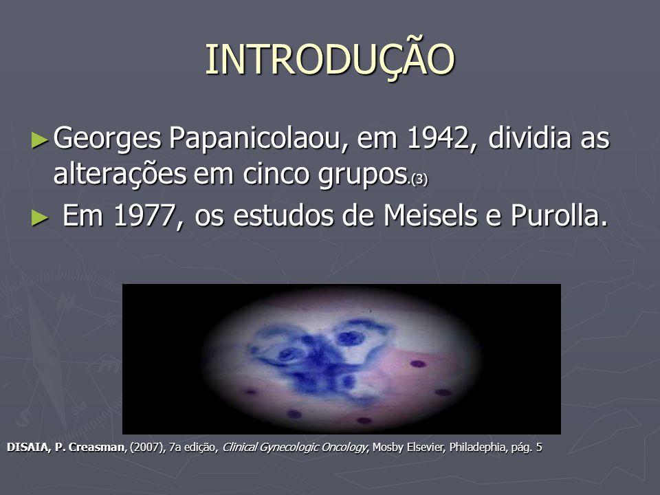 INTRODUÇÃO Georges Papanicolaou, em 1942, dividia as alterações em cinco grupos.(3) Georges Papanicolaou, em 1942, dividia as alterações em cinco grupos.(3) Em 1977, os estudos de Meisels e Purolla.