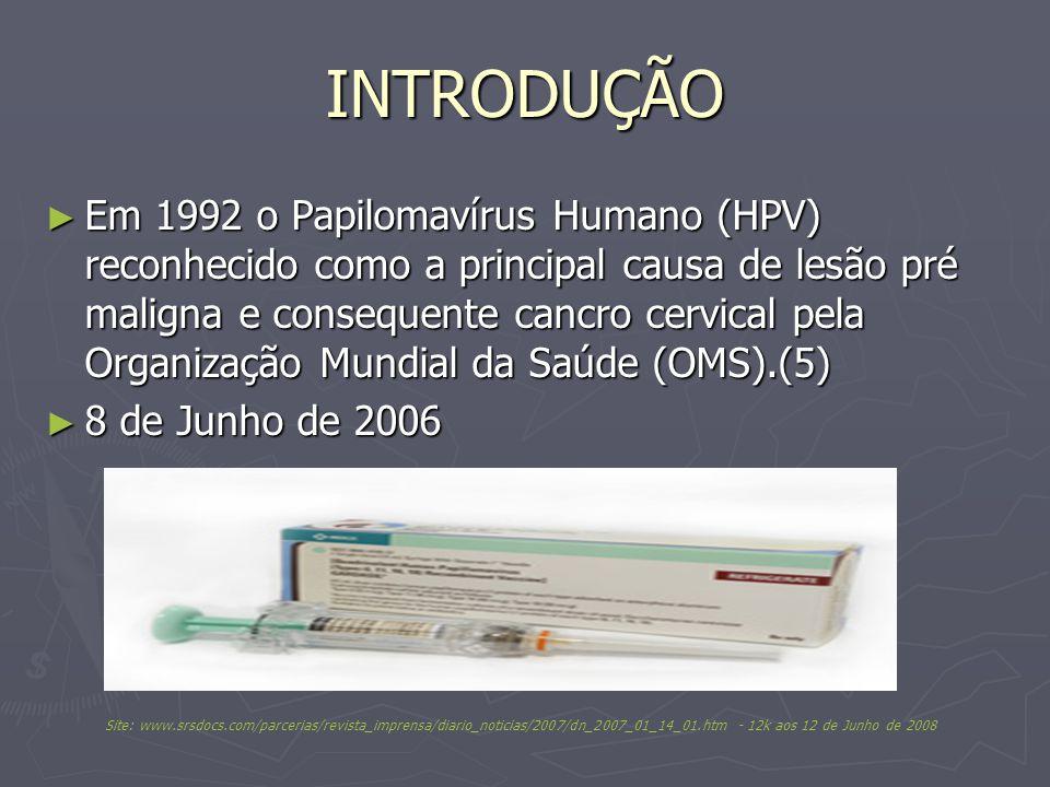 INTRODUÇÃO Em 1992 o Papilomavírus Humano (HPV) reconhecido como a principal causa de lesão pré maligna e consequente cancro cervical pela Organização Mundial da Saúde (OMS).(5) Em 1992 o Papilomavírus Humano (HPV) reconhecido como a principal causa de lesão pré maligna e consequente cancro cervical pela Organização Mundial da Saúde (OMS).(5) 8 de Junho de 2006 8 de Junho de 2006 Site: www.srsdocs.com/parcerias/revista_imprensa/diario_noticias/2007/dn_2007_01_14_01.htm - 12k aos 12 de Junho de 2008