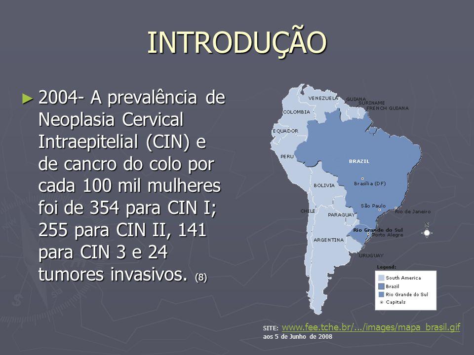 INTRODUÇÃO 2004- A prevalência de Neoplasia Cervical Intraepitelial (CIN) e de cancro do colo por cada 100 mil mulheres foi de 354 para CIN I; 255 para CIN II, 141 para CIN 3 e 24 tumores invasivos.