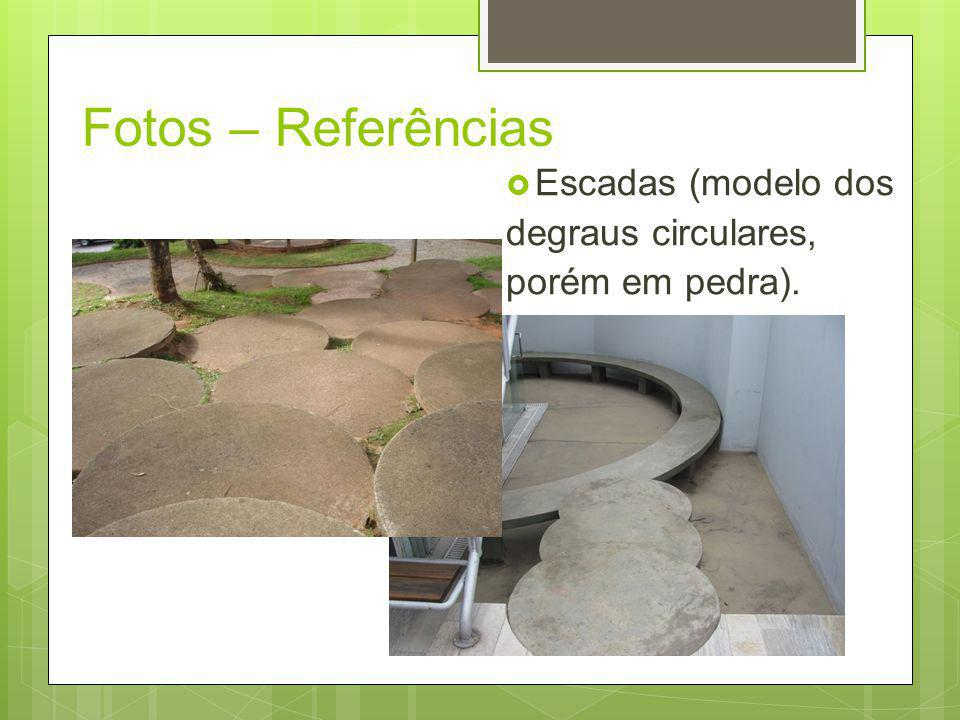 Fotos – Referências Escadas (modelo dos degraus circulares, porém em pedra).
