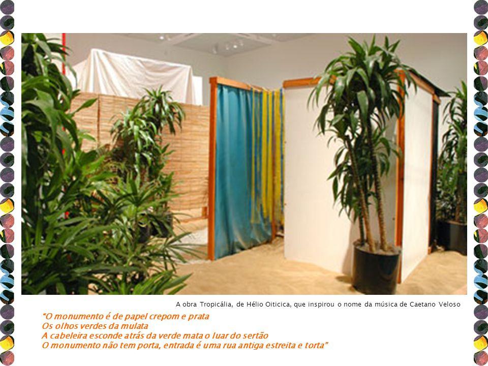 A obra Tropicália, de Hélio Oiticica, que inspirou o nome da música de Caetano Veloso O monumento é de papel crepom e prata Os olhos verdes da mulata