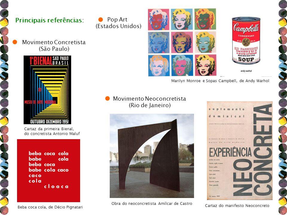 Cartaz da primeira Bienal, do concretista Antonio Maluf Marilyn Monroe e Sopas Campbell, de Andy Warhol Principais referências: Movimento Concretista