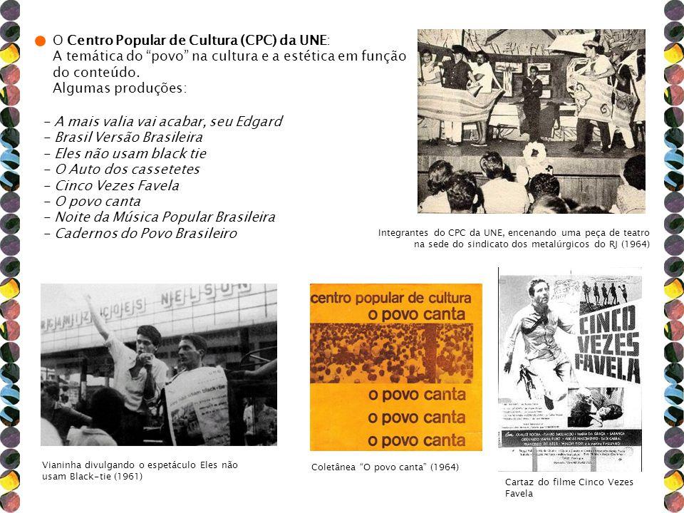 Integrantes do CPC da UNE, encenando uma peça de teatro na sede do sindicato dos metalúrgicos do RJ (1964) Vianinha divulgando o espetáculo Eles não u