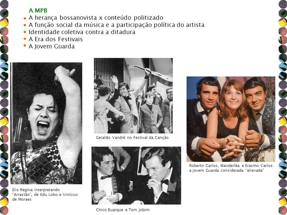 A MPB A herança bossanovista x conteúdo politizado A função social da música e a participação política do artista Identidade coletiva contra a ditadur