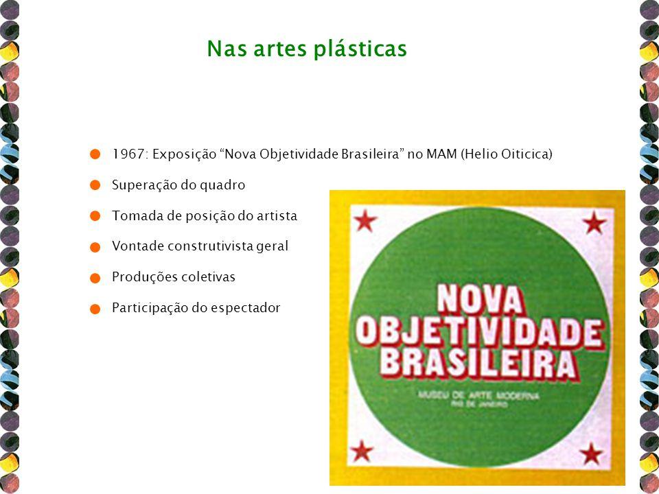 1967: Exposição Nova Objetividade Brasileira no MAM (Helio Oiticica) Superação do quadro Tomada de posição do artista Vontade construtivista geral Pro